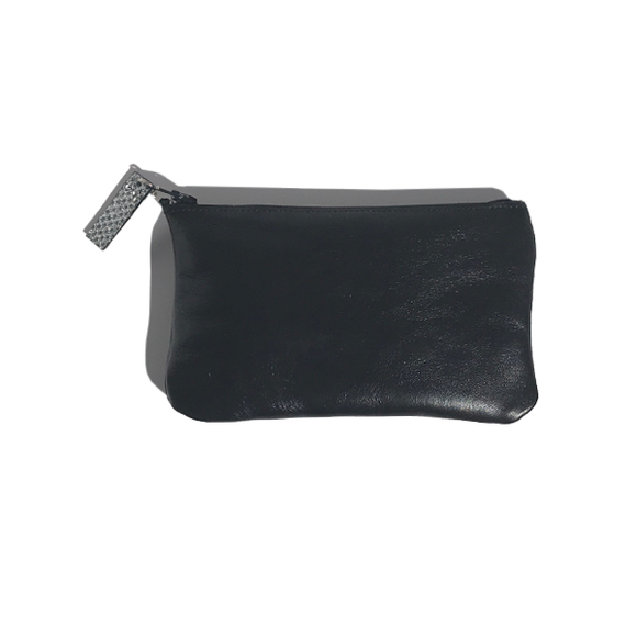 Monique Mini Pouch – Soft Black Leather Featuring Metallic Leather Zipper Pull Design - MONOLISA