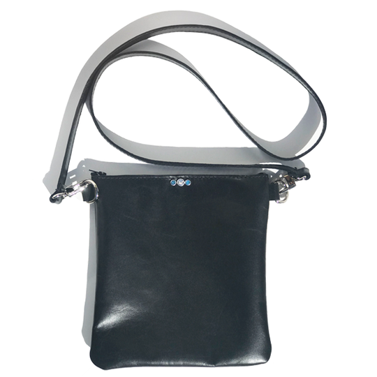 Strap Bags Made in California - Soft Black Italian Leather Featuring Blue and Clear Swarovski