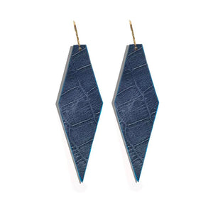 22k Gold Forme Earrings - Moonlight Double-Sided Embossed Croc Leather with Blue Italian Edge Paint