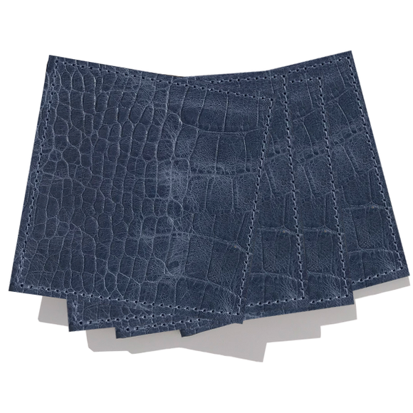 Blue Croc Leather Coaster Set of 4
