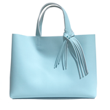Medium Blue Leather Tote 63 – 2 Blue Crystal  Fringe Design