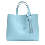 Tall  Blue Leather Tote 65 – 1 Swarovski Fringe Design