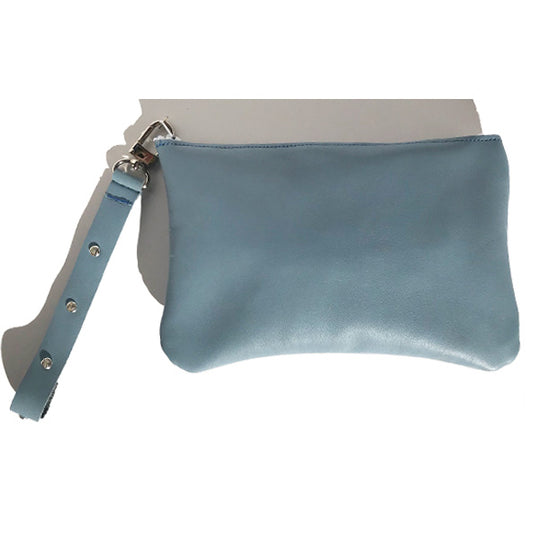 Handbags Made in California - Monique Wristlet Bag – Blue Leather Featuring 7 Clear Swarovski Crystals