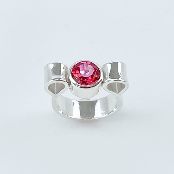 Sculpted Sterling Silver Blush Topaz Ring - Modern Bow