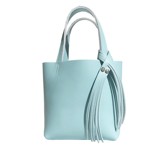 Bride Blue Leather Mini Tote 12 – Two Swarovski Crystals