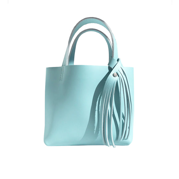Bride Blue Leather Mini Tote 14 – Swarovski Crystal