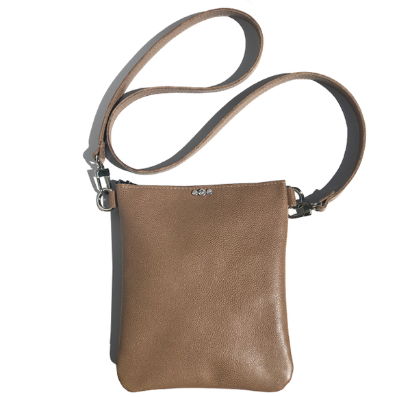 Tan Pebble Leather Tall Strap Bag 27 – 3 Swarovski