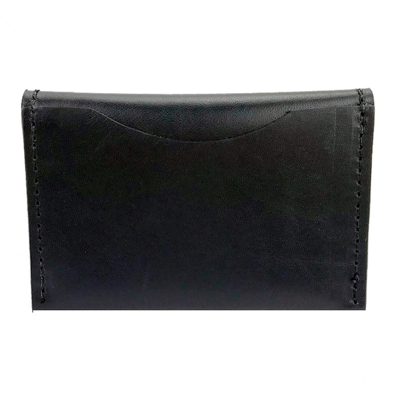 Front of Card Case I- Black Leather with Black Shiny Edge Finish