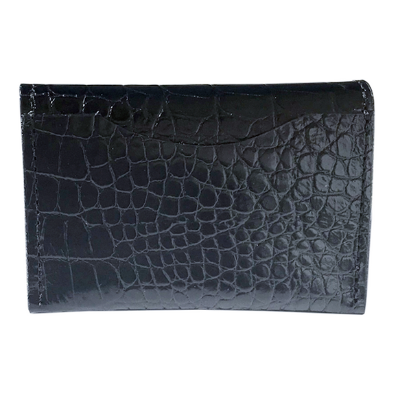 Front of Card Case I- Black Croc with Black Shiny Edge Finish