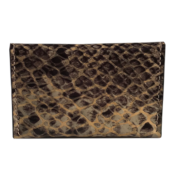 Front of Leather Card Case II – Tan Patent Snake