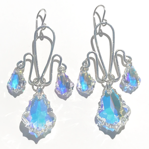 Sterling Sculpted Goddess Crown Chandelier Earrings - Swarovski