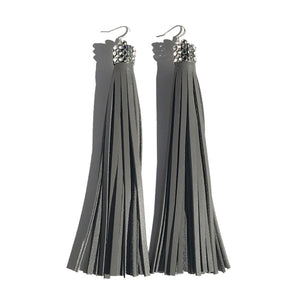 Extra Long Chandelier Earrings: Gray Leather Featuring 60 Swarovski