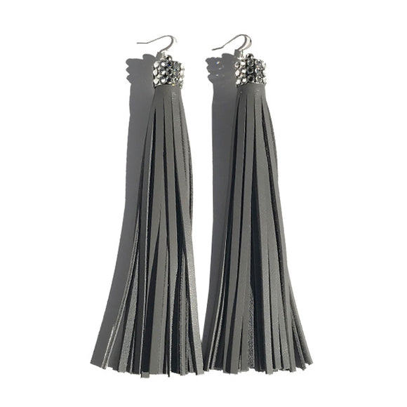 Extra Long Chandelier Earrings: Gray Leather Featuring 60 mini crystals