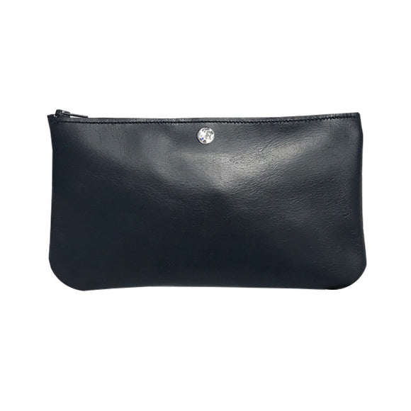 Monique Pouch – Soft Black Leather Featuring Clear Crystal
