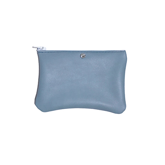 Monique Mini Pouch – Soft Blue Leather Featuring (clear, rose, or paradise crystals) - MONOLISA