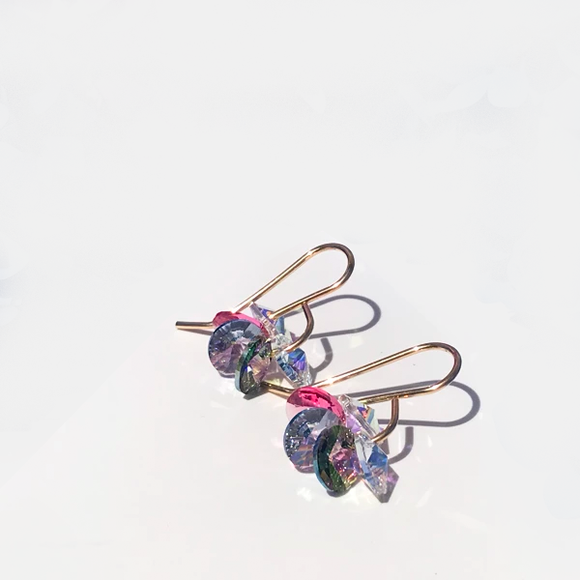Unicorn Iridescent Crystal Cluster 14k Gold Earrings