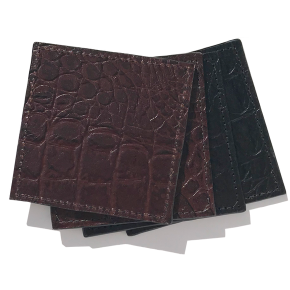 Croc Leather Coaster Set in Brown and Black