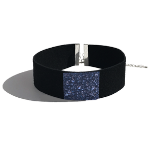 Choker Necklace - Black European Suede Leather Featuring Swarovski Blue Crystal Fabric