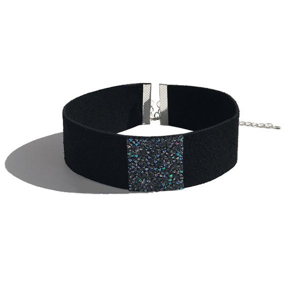 Choker Necklace - Black European Suede Leather Featuring Crystal Rocks