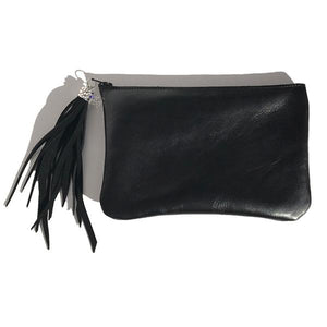 Monique Bag – Soft Black Leather with Swarovski Suede Short Tassel