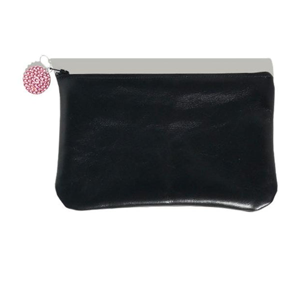 Monique Clutch – Black Italian Leather Featuring 42 Rose Crystals