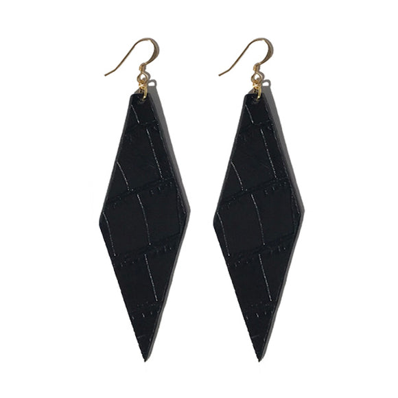 Style 1: Forme Earrings - Italian Embossed Croc Black Leather Featuring 22k Gold