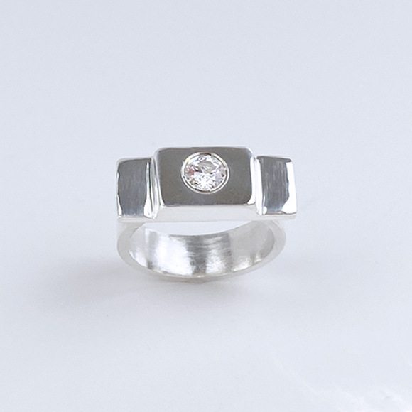 Sterling Silver Gemstone Thick Ring - Lavish Style