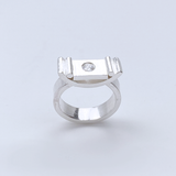 Sterling Silver Gemstone Thick Ring - Grand Elegance