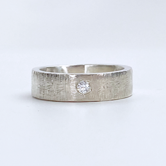 Sterling Silver Ring Wide Band - Silk Weave with Stone