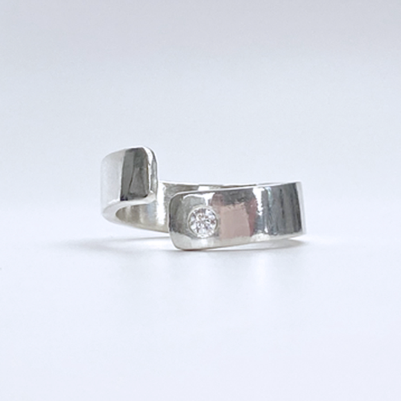 Sterling Silver Ring Wide Band - Modern with Stone