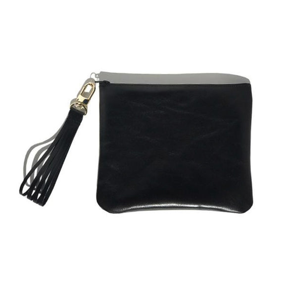 Bags Made in USA Monique Tall Bag – Soft Black Leather Fringe Wristlet