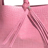 Fringe on Large Pink Croc Leather Shopper Tote Bag 24 – Fringe Swarovski Design
