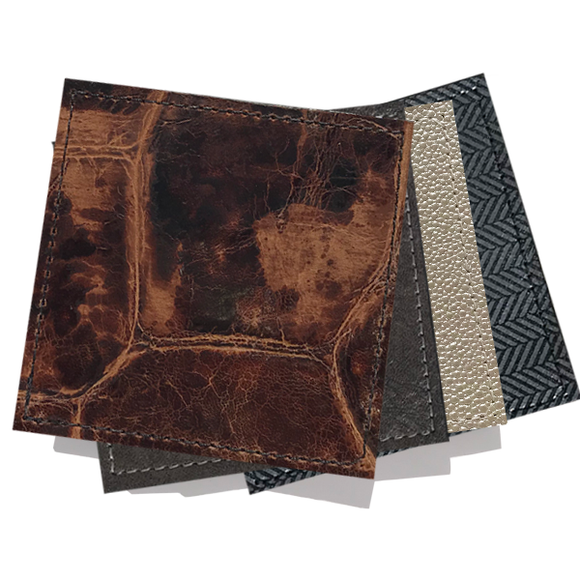Leather Coasters - brown, pearl and black with silver