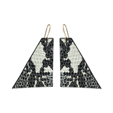 Geo Earrings - Printed Lambskin with 22k Gold Plated Hardware