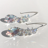 Touch of Blue Goddess Bent Hoop Earrings - Crystal Cluster