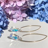 14k Gold Bent Hoop Earrings - Iridescent Crystals