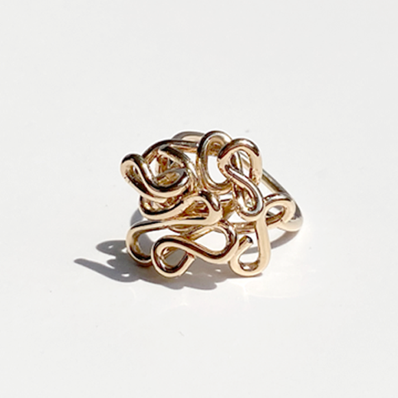 Hand Rings Made in California - Sculpted 14k Gold Ring - Gold Goddess
