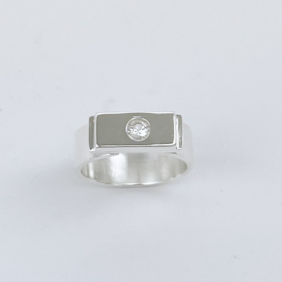 Sterling Silver White Sapphire Ring - Graceful