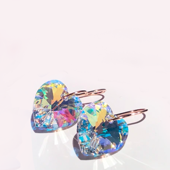14k Rose Gold Cristallo Iridescent Heart Earrings