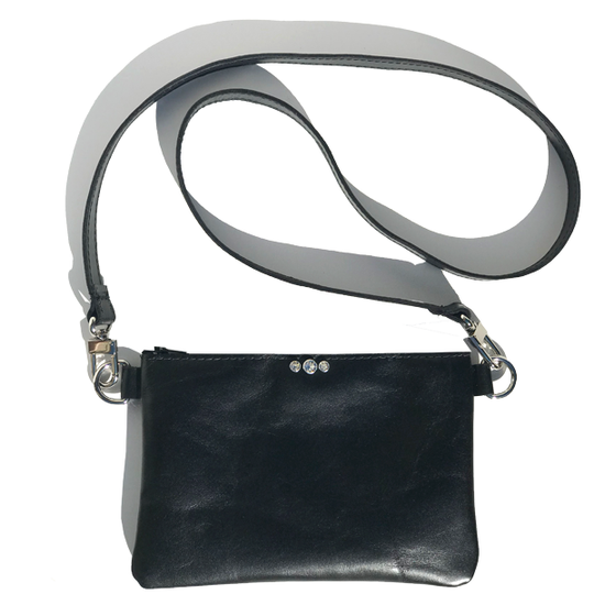 Strap Bags Made in California - Light-Weight Black Italian Leather Featuring Shimmering Swarovski