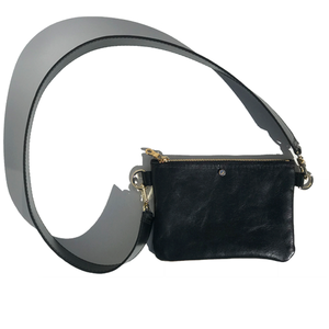 Black Italian Leather Short Cell Strap Bag – Swarovski (Bag 51)