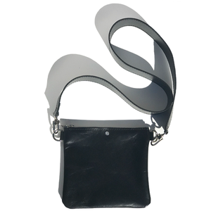 Black Italian Leather Short Cell Strap Bag – (Bag 62)