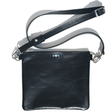 Black Italian Leather Crossbody with Swarovski  - Bags Made in USA