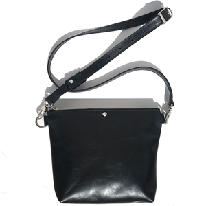 Black Italian Leather Crossbody Bag - Made in USA