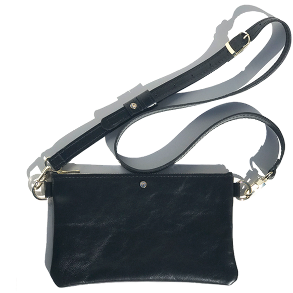 Black Italian Clutch Leather Adjustable Strap Bag – Swarovski (Bag 61)
