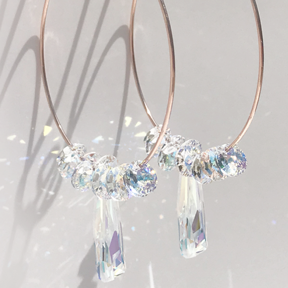 Jewelry Made in California: Ultra Fancy Rose Gold Hoop Earrings - Iridescence Crystals