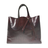 Brown Croc Italian Leather Tote Bag 34 – Fringe Swarovski Design
