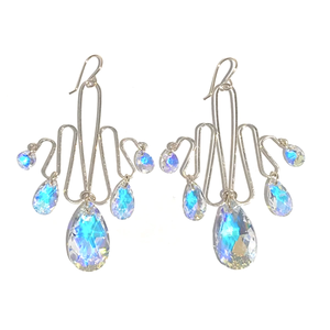 14k Gold Sculpted Romantic Goddess Chandelier Earrings - Ultra Large Crystals