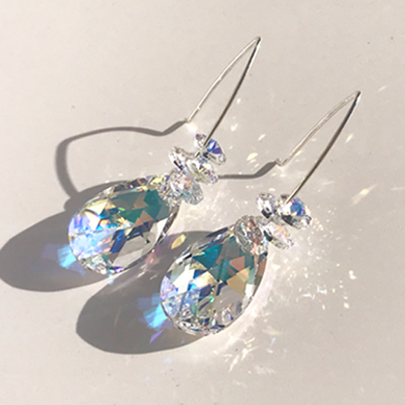 Iridescent Goddess Bent Hoop Sterling Earrings - Ultra Large  Crystals