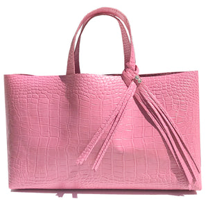 Large Pink Croc Leather Shopper Tote Bag 24 – Fringe Swarovski Design